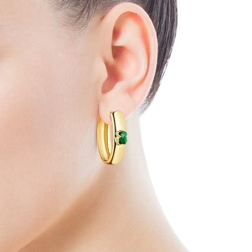 Large Silver Vermeil and Malachite Icon Color Earrings