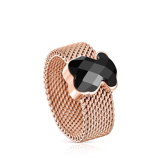 Rose IP Steel Mesh Color Ring with Onyx
