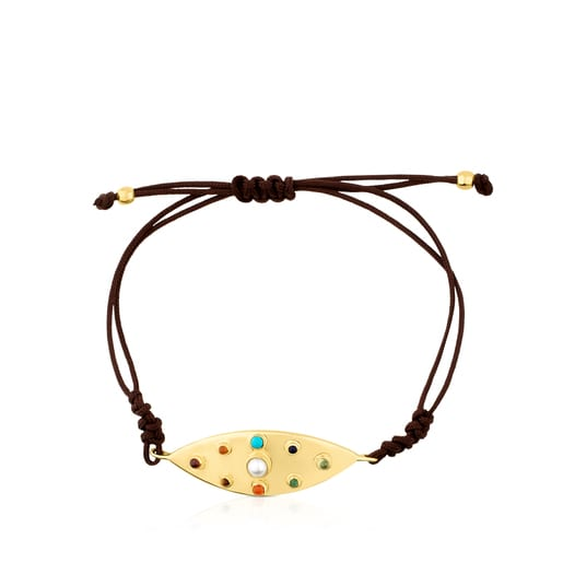 Vermeil Silver Super Power Bracelet with Cord and Gemstones