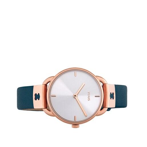 Ρολόι Let Leather από Ατσάλι με επιμετάλλωση σε ροζ χρώμα με μπλε Δερμάτινο λουράκι
