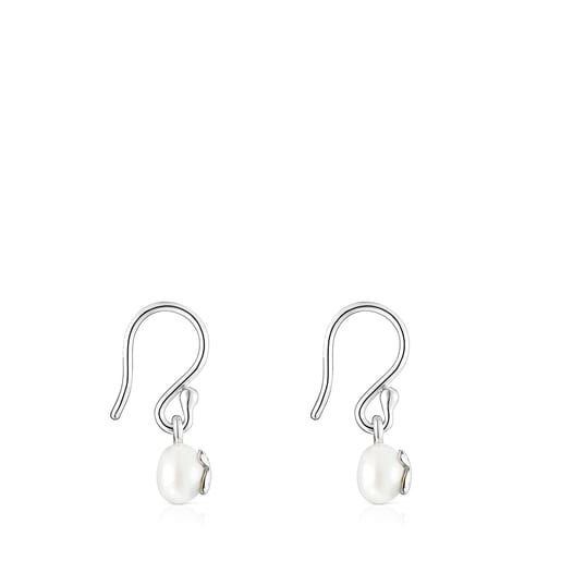Short Silver and Pearl Icon Pearl Earrings