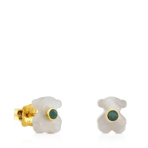 Ohrringe Super Power aus Gold und Perlmutt mit Amazonit