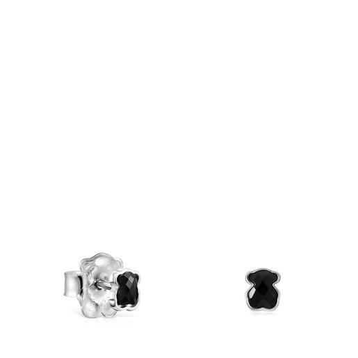 TOUS Mini Onix Earrings in Silver with Onyx 0,4cm.