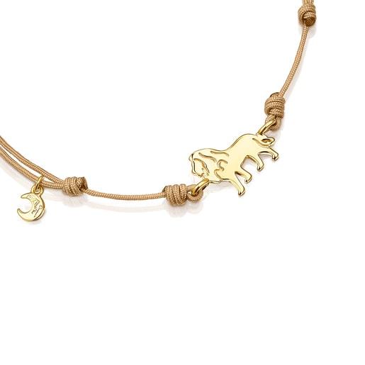 Pulsera león de plata vermeil y cordón beige Save