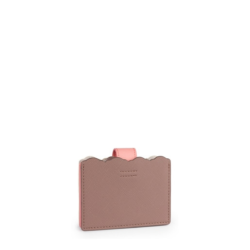 Πτυσσόμενη θήκη καρτών Carlata σε ασημένιο-ροζ χρώμα