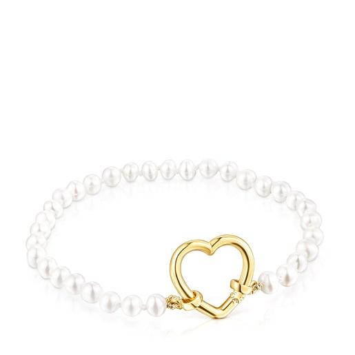 Herz-Armband Hold aus Gold mit Perlen