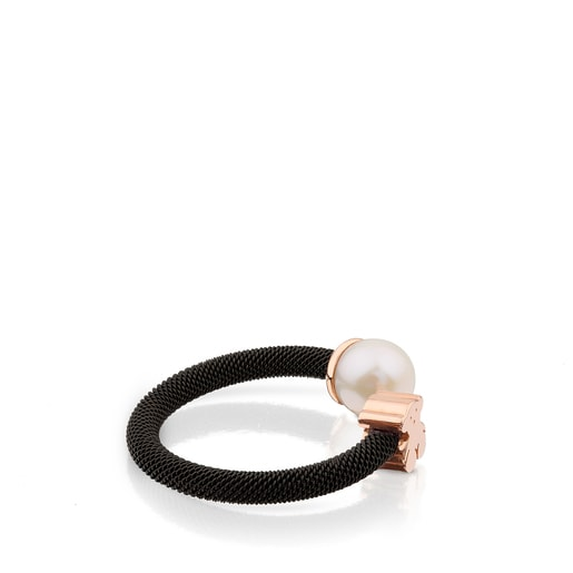 Black IP Steel and Rose Vermeil Silver TOUS Icon Mesh Ring with 0,65cm Pearl