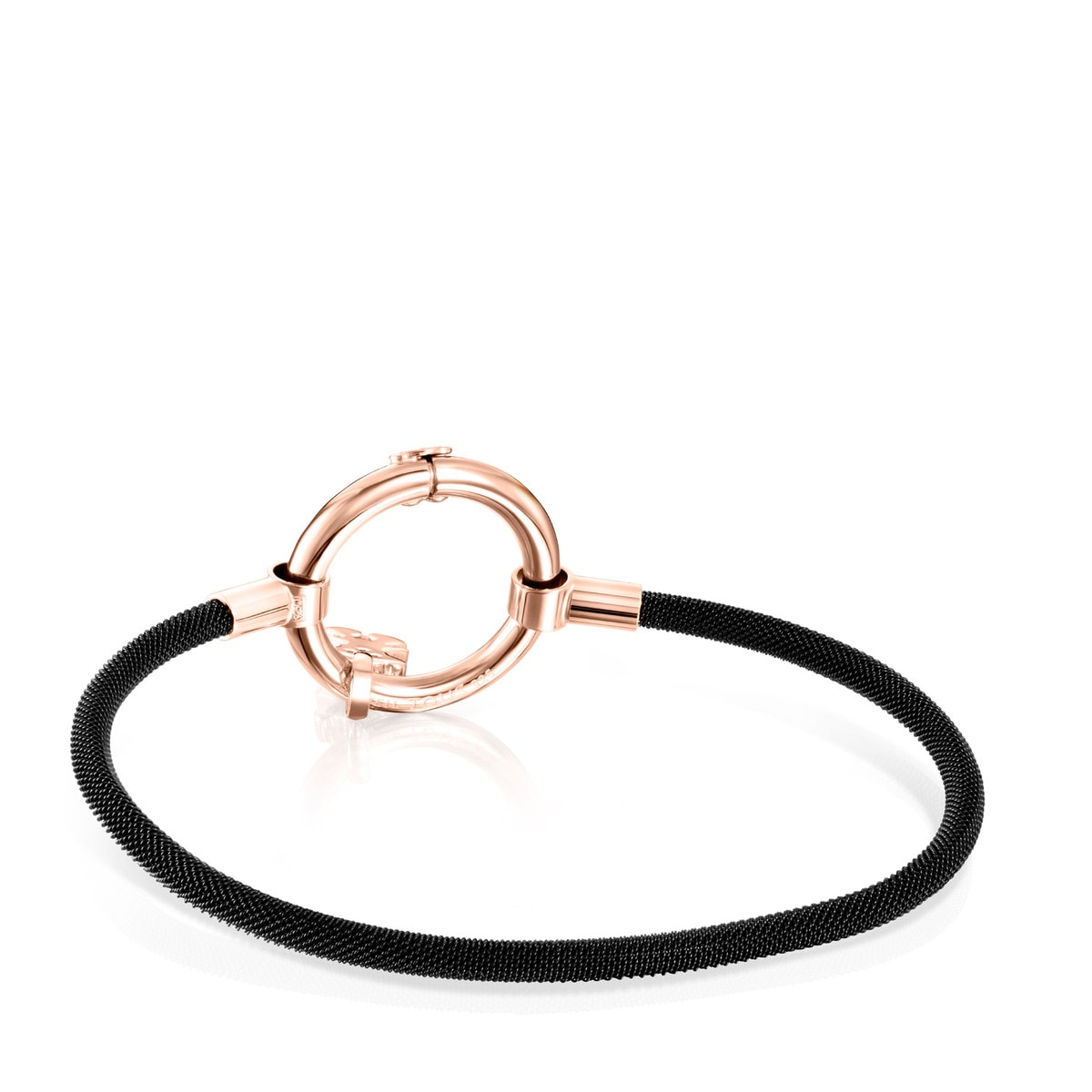Rose Vermeil Silver and black IP Steel Hold Bracelet