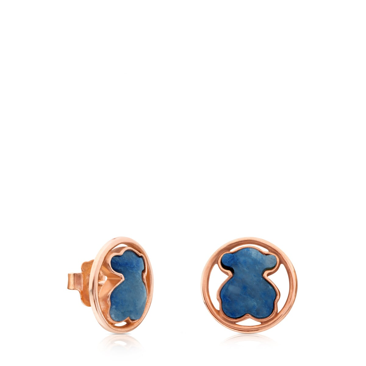 Rose Vermeil Silver Camille Earrings with Quartz with Dumortierite