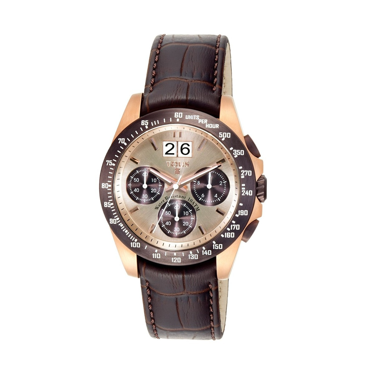 Two-tone pink/chocolate IP Steel Drive Crono Watch with brown Leather strap