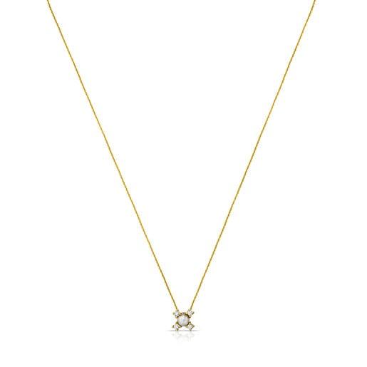 Halskette Eklat aus Gold mit Diamant und Perle