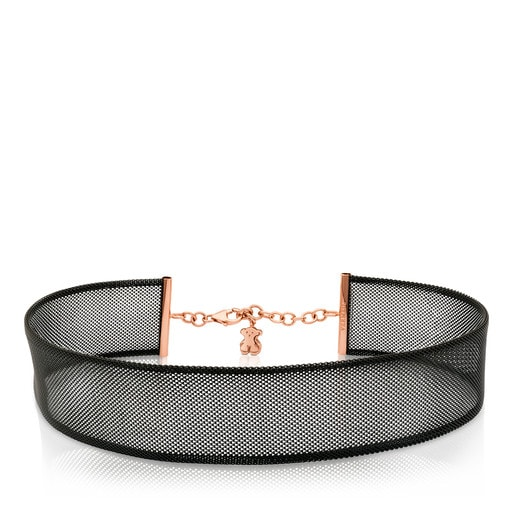 Rose Vermeil Silver and Steel Icon Mesh Bracelet