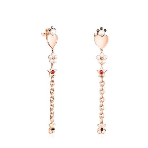 Boucles d'oreilles Real Sisy grandes en Or Vermeil rose avec Pierres précieuses