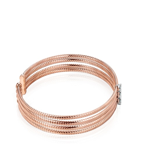 Light triple Bracelet in Rose Gold with Diamonds