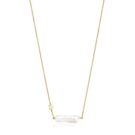 Silver Vermeil TOUS Pearls Necklace with Pearl