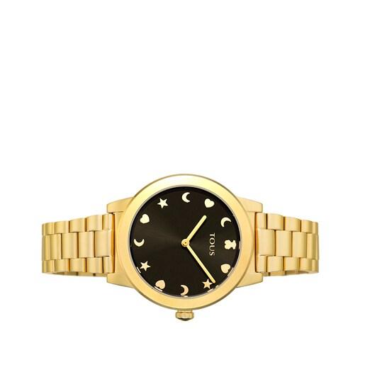Ρολόι Nocturne σε χρυσό χρώμα από ατσάλι με μαύρο καντράν