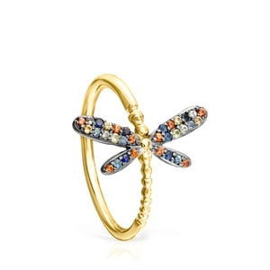 Gold Vermeil Real Mix Bera Ring with Sapphires