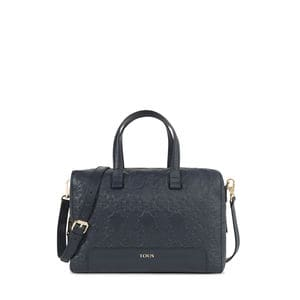 Navy colored Leather Mossaic Bowling bag