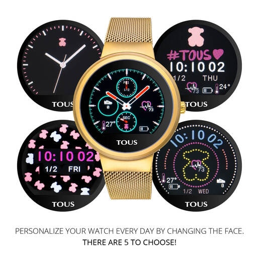 Gold-colored IP Steel Rond Touch activity Watch