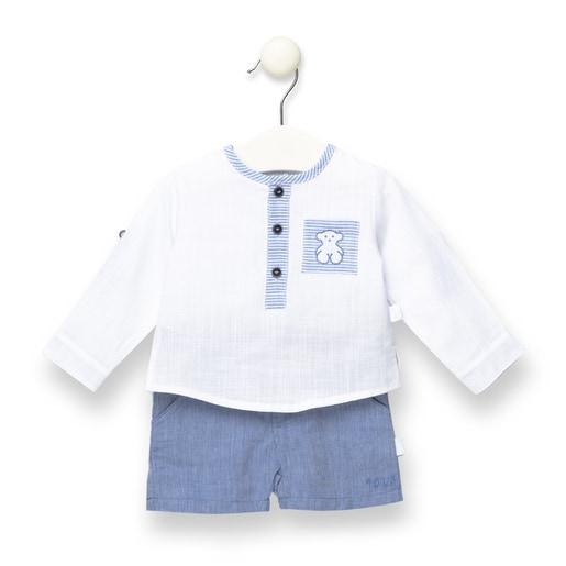 Conjunto camisa y short Jean Azul
