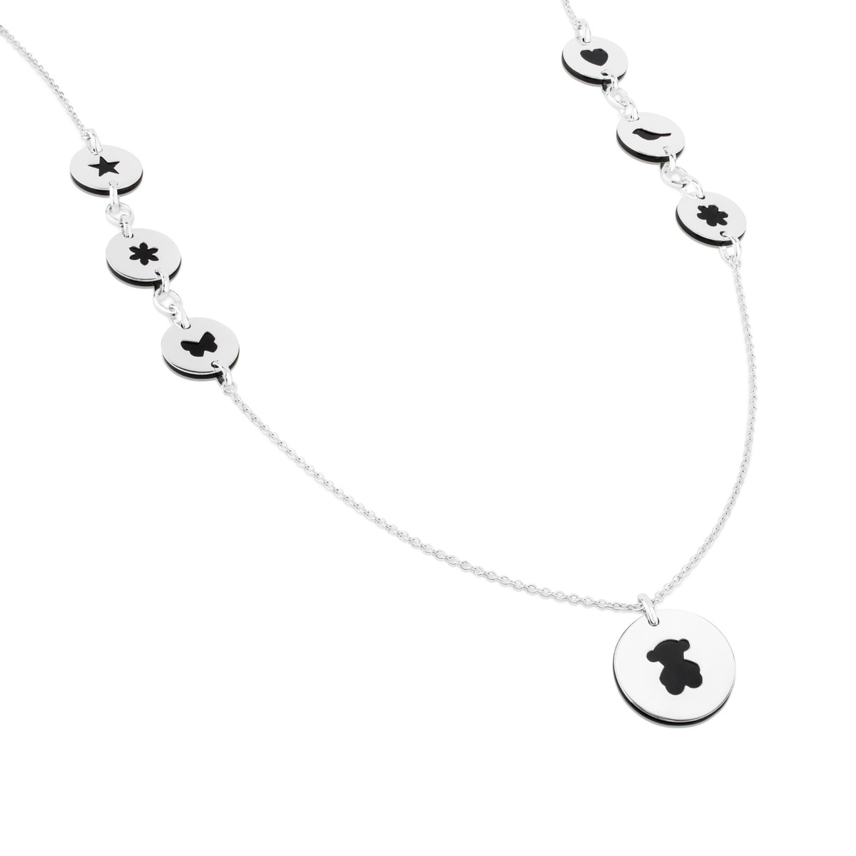 Silver Confeti Necklace with Onyx and Gemstones