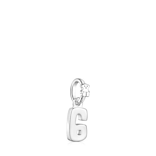 Silver Numbers number 6 Pendant