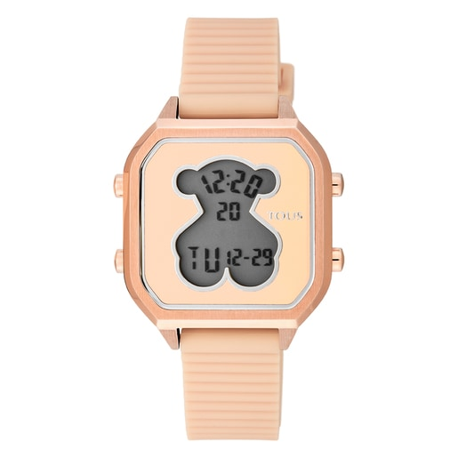 Rose IP Steel D-Bear Teen Watch with nude Silicone strap