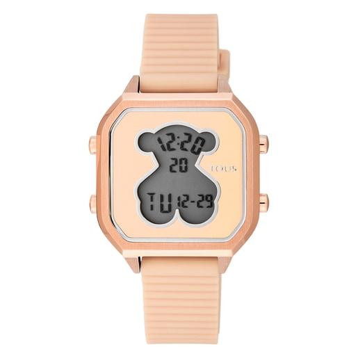 Relógio D-Bear Teen em Aço IP rosado com correia de Silicone nude