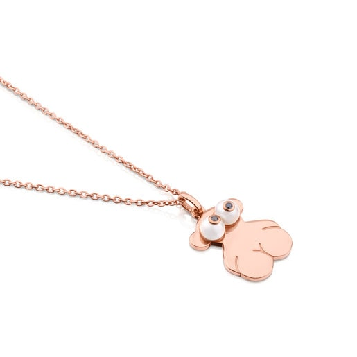 Pink Vermeil Silver Face Necklace with Peal and Spinel