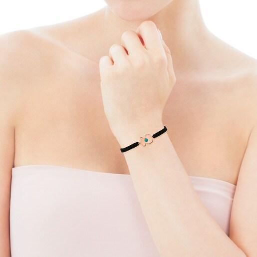 Armband Super Power aus rosa Vermeil-Silber und Kordel mit Türkis