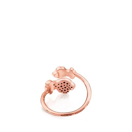 Δαχτυλίδι Twist από ροζ ασήμι vermeil