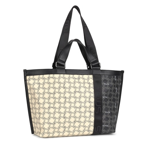Beige and black TOUS Logogram Patch Tote bag