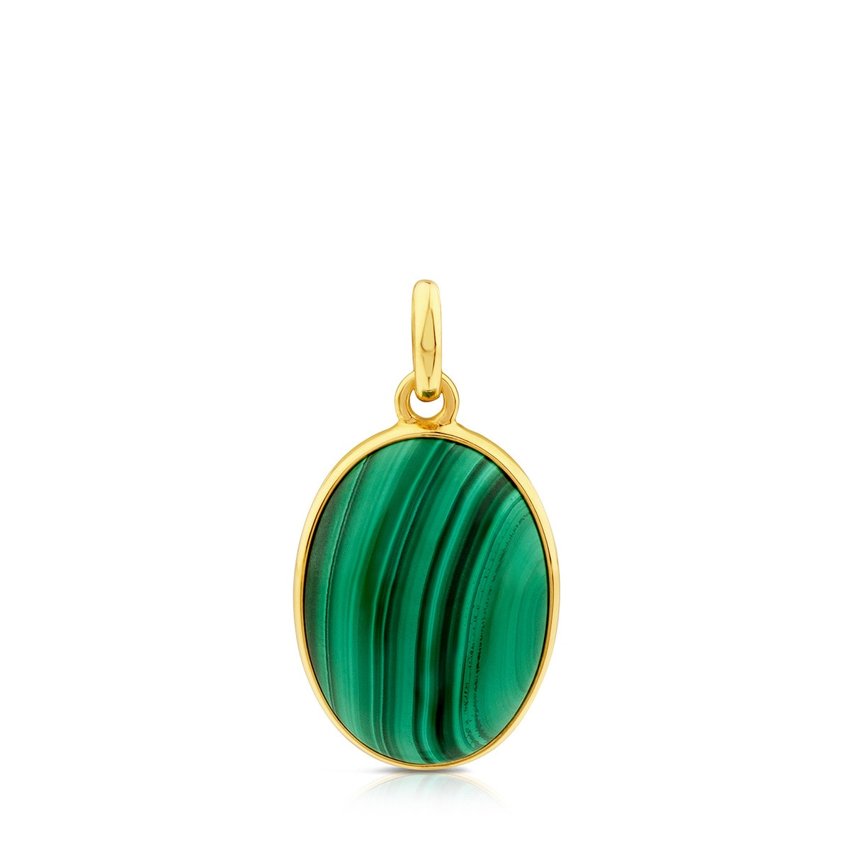 Vermeil Silver Camee Pendant with Malachite