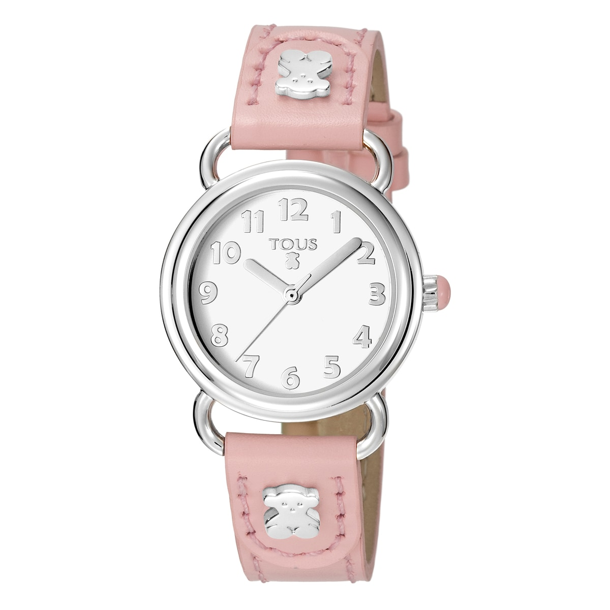 Steel Baby Bear Watch with pink Leather strap