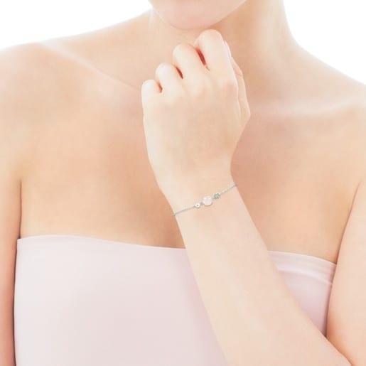 Pulsera Mini Color de Plata con Cuarzo rosa, Amazonita y Perla