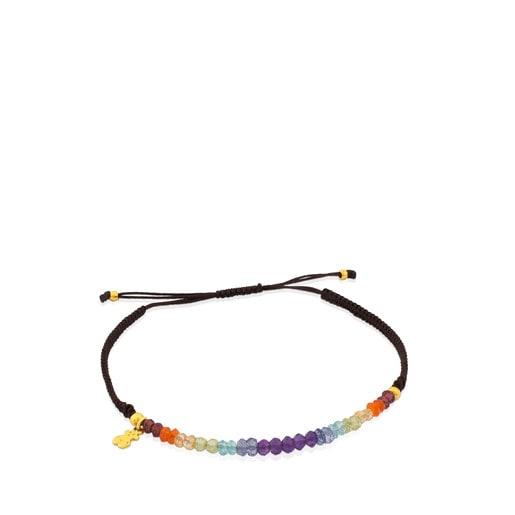 Pulsera TOUS Color de Plata Vermeil, Gemas y Cordón en color marrón