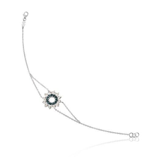 Pulsera ATELIER Mandala de Oro blanco con Topacios