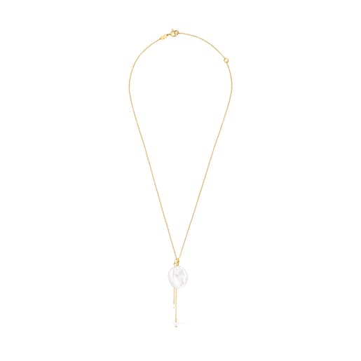 Silver Vermeil Nenufar petal Necklace with Pearl