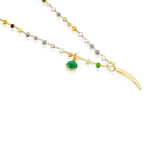 Collar TOUS Good Vibes cuerno de plata vermeil y gemas